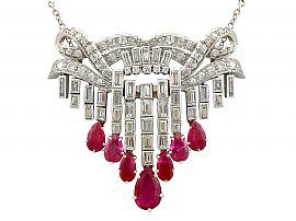 3.10ct Ruby and 4.29ct Diamond, Platinum Drop Necklace - Vintage Circa 1950