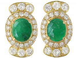 5.86ct Emerald and 4.32ct Diamond, 18ct Yellow Gold Earrings - Vintage Circa 1970