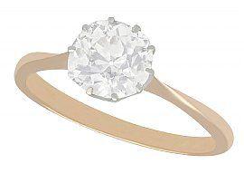 1.92ct Diamond and 9ct Rose Gold Platinum Set Solitaire Engagement Ring - Antique Circa 1910