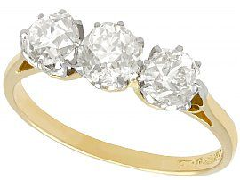 1.12ct Diamond and 18ct Yellow Gold Trilogy Ring - Antique Circa 1920