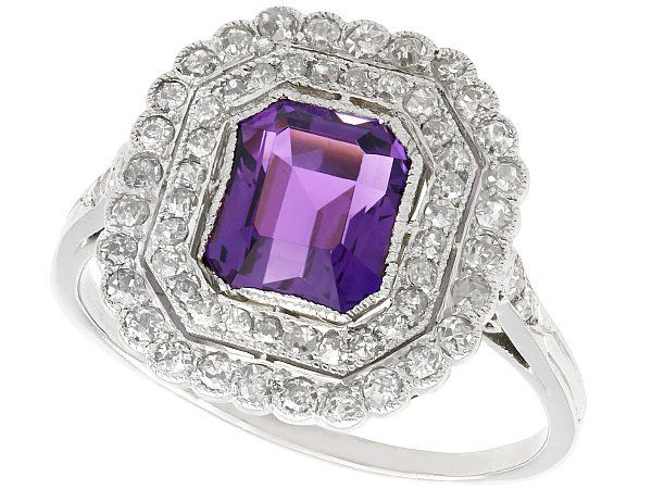 9ct White Gold 1.00ct Aquamarine /& Diamond Art Deco Style ring size M