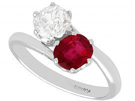 1.35 ct Ruby and 0.97 ct Diamond, 18 ct White Gold Twist Ring - French Antique Circa 1920