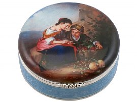 German Sterling Silver and Enamel Dressing Table Box - Antique Circa 1930