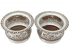 Electroplated Silver Bottle Coasters - Antique Circa 1940