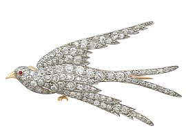 3.34 ct Diamond, Ruby & 18 ct Yellow Gold Swallow Brooch - Antique Circa 1910