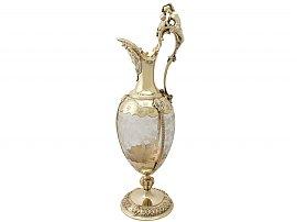 Acid Etched Glass and Sterling Silver Gilt Claret Jug - Antique Victorian (1875)