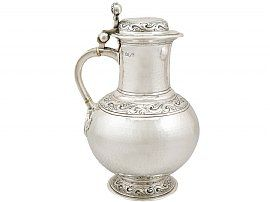 Britannia Standard Silver Flagon - Arts and Crafts Style - Antique Edwardian